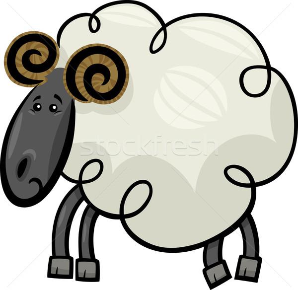 Cartoon ilustración carnero ovejas cute Foto stock © izakowski