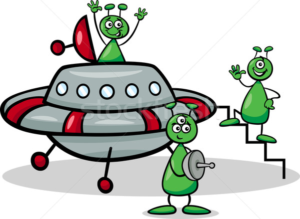 aliens with ufo cartoon illustration Stock photo © izakowski