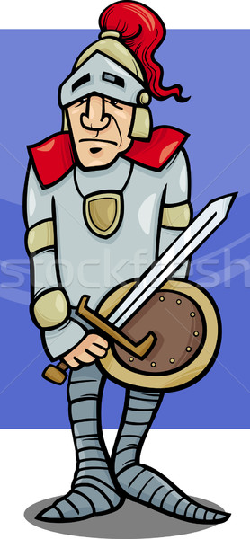 Knight меч Cartoon иллюстрация броня щит Сток-фото © izakowski