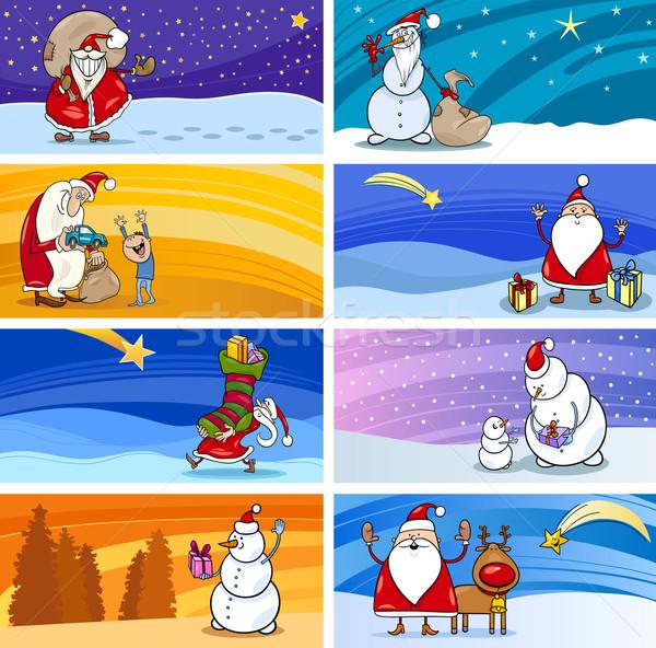 Cartoon Greeting Cards with Santa Claus Stock photo © izakowski
