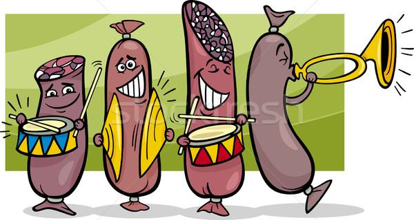 Salsicce band cartoon illustrazione divertente musica Foto d'archivio © izakowski