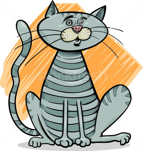 tabby gray cat cartoon illustration Stock photo © izakowski
