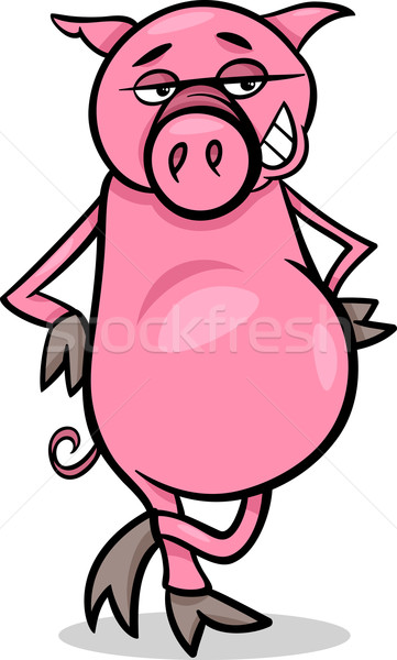 funny pig cartoon illustration Stock photo © izakowski