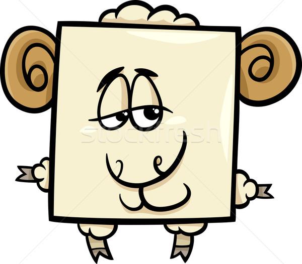 Placu baran cartoon ilustracja funny charakter Zdjęcia stock © izakowski