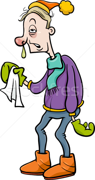 man with flu cartoon illustration Stock photo © izakowski