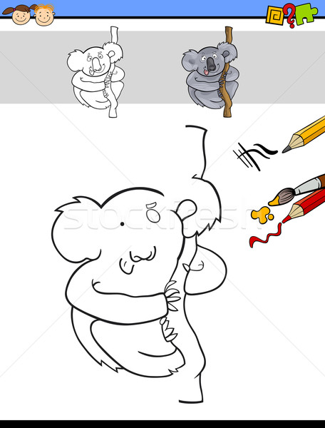 finish and color task with koala Stock photo © izakowski