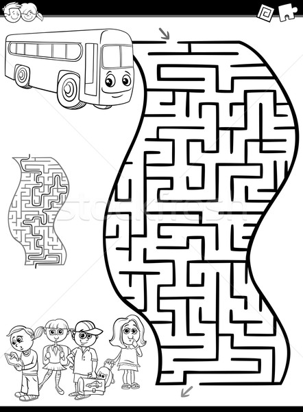 Labirintus labirintus feketefehér rajz illusztráció oktatás Stock fotó © izakowski