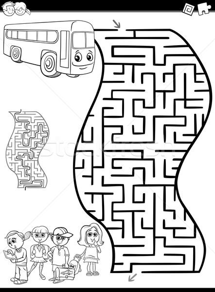 Labirinto labirinto bianco nero cartoon illustrazione istruzione Foto d'archivio © izakowski