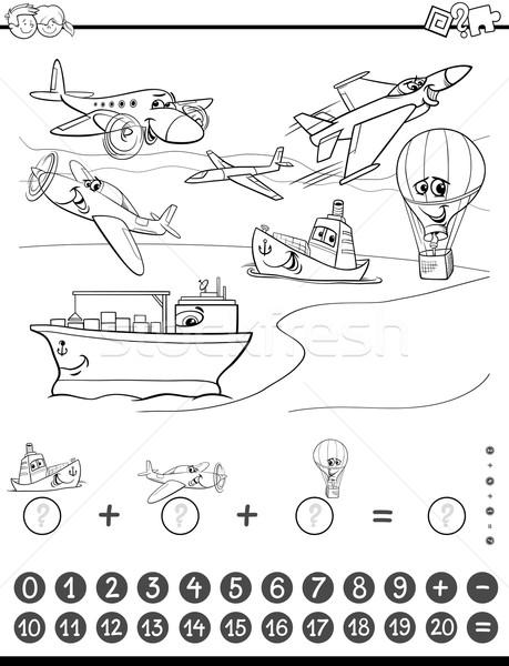 Matemática tarefa preto e branco desenho animado ilustração Foto stock © izakowski