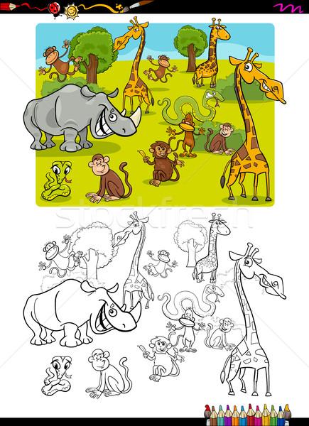 Safari dieren pagina cartoon illustratie wild safari Stockfoto © izakowski