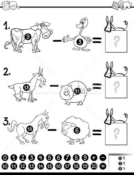 Matematyka gry czarno białe cartoon ilustracja Zdjęcia stock © izakowski