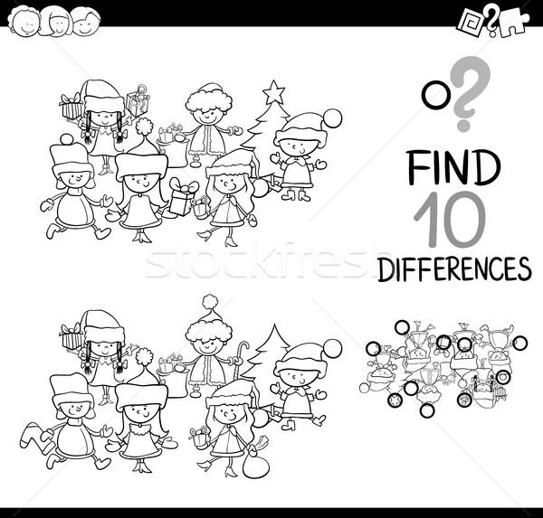 разница игры страница черно белые Cartoon иллюстрация Сток-фото © izakowski