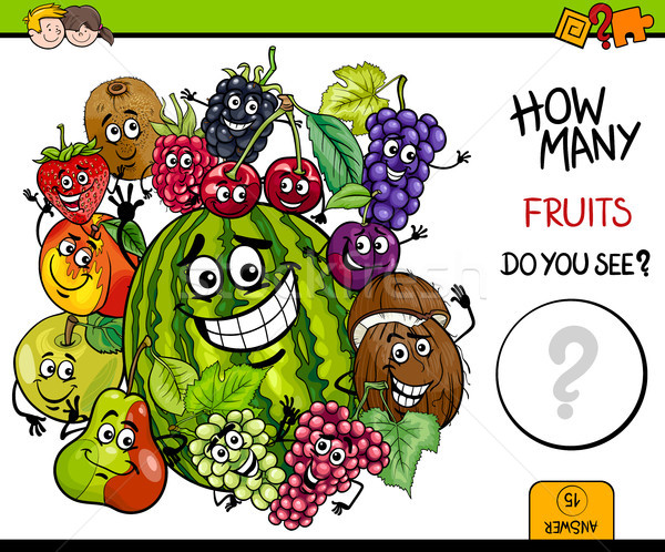 Stock photo: counting fruits educational activity
