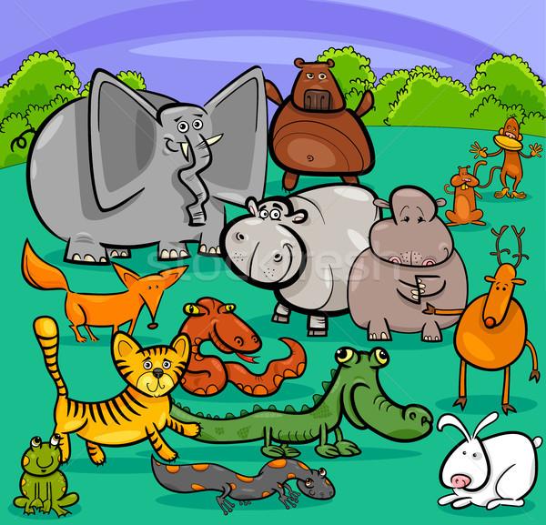 Karikatur wildes Tier Zeichen Gruppe Illustration cute Stock foto © izakowski