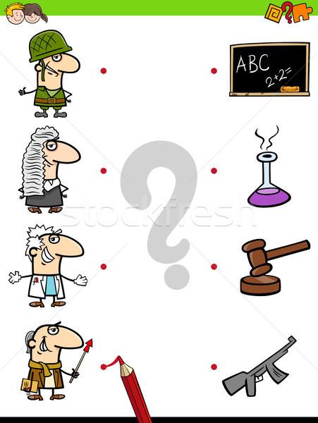 Stockfoto: Wedstrijd · beroepen · onderwijs · spel · kinderen · cartoon
