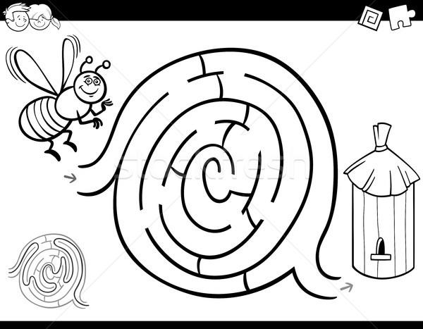 Labirent Oyun Boyama Kitabi Ari Kovan Siyah Beyaz