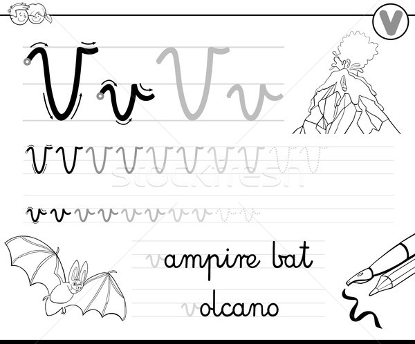 learn to write letter V workbook for kids Stock photo © izakowski