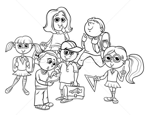 cartoon elementary school children coloring book Stock photo © izakowski