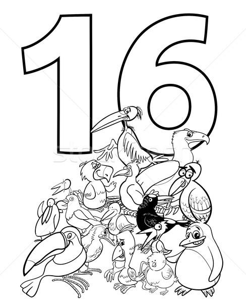 Numara on altı komik kuşlar grup siyah beyaz Stok fotoğraf © izakowski