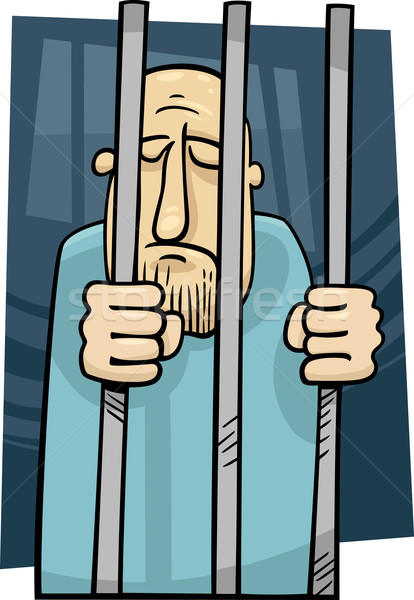 cartoon illustration of jailed man Stock photo © izakowski