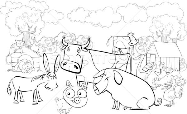 farm animals for coloring book Stock photo © izakowski