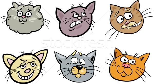Cartoon funny cats heads set Stock photo © izakowski