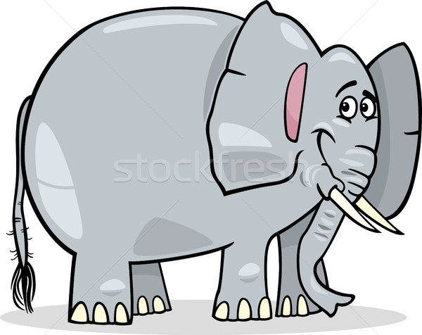 Cute afrikaanse olifant cartoon illustratie grijs glimlach Stockfoto © izakowski