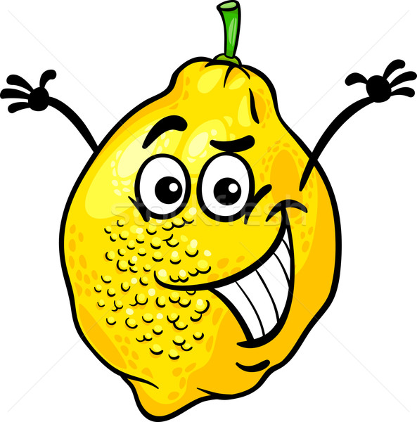 funny lemon fruit cartoon illustration Stock photo © izakowski