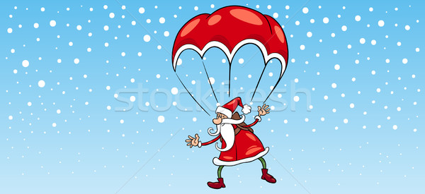 santa claus on parachute greeting card Stock photo © izakowski