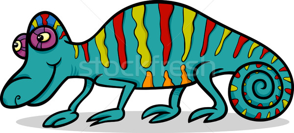 chameleon animal cartoon illustration Stock photo © izakowski
