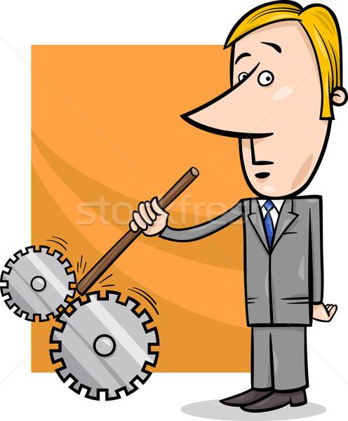 saboteur businessman cartoon illustration Stock photo © izakowski