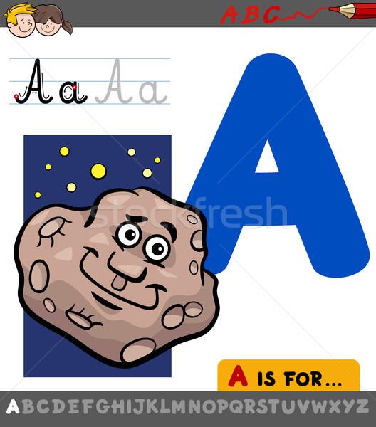 letter a with cartoon asteroid Stock photo © izakowski
