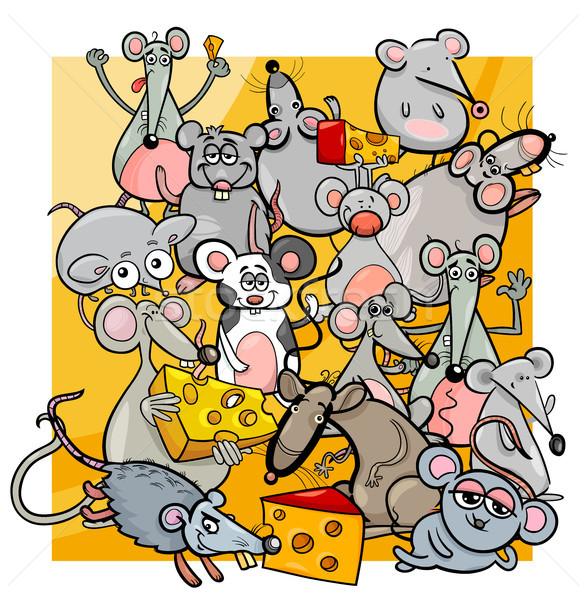 Desenho animado ratos queijo ilustração bonitinho roedor Foto stock © izakowski