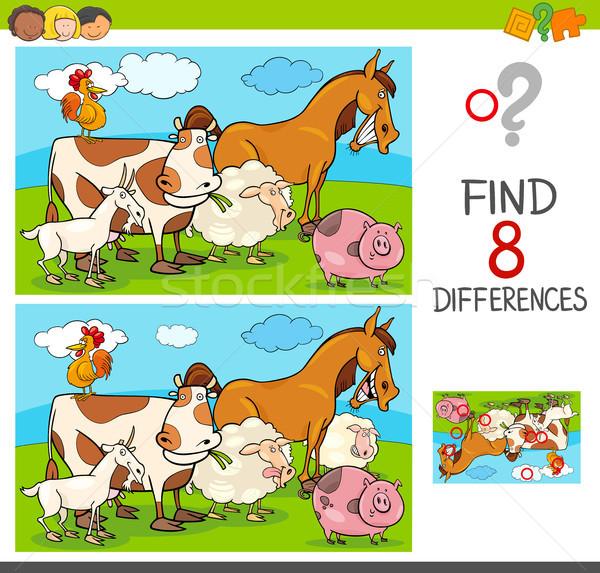Diferenças jogo animais de fazenda grupo desenho animado ilustração Foto stock © izakowski