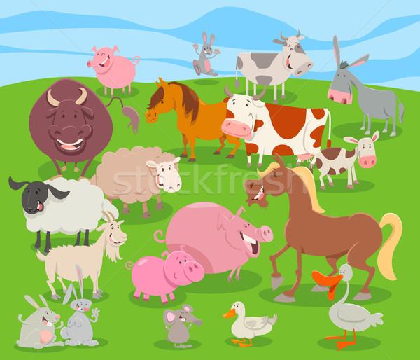 cute cartoon farm animal characters group Stock photo © izakowski