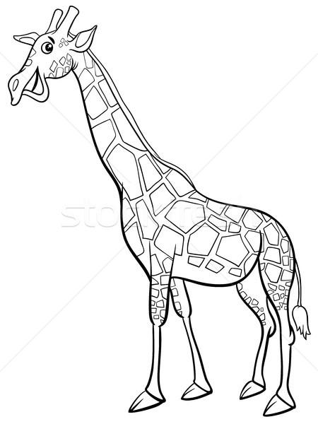 Zürafa Hayvan Karakter Karikatür Boyama Kitabı Siyah