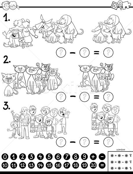 Subtraktion pädagogisch Spiel Farbe Buch Kinder Stock foto © izakowski