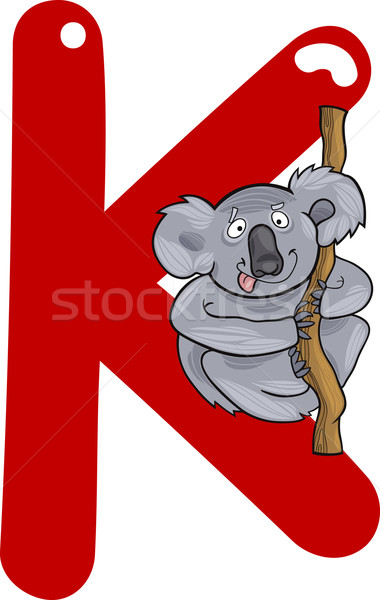 Koala cartoon illustration lettre livre heureux Photo stock © izakowski