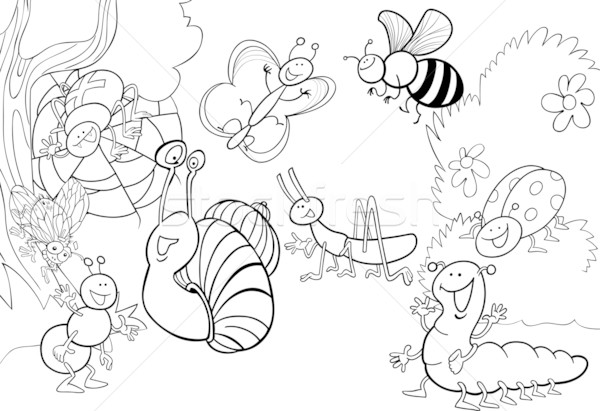 Cartoon insectes prairie illustration drôle livre de coloriage Photo stock © izakowski
