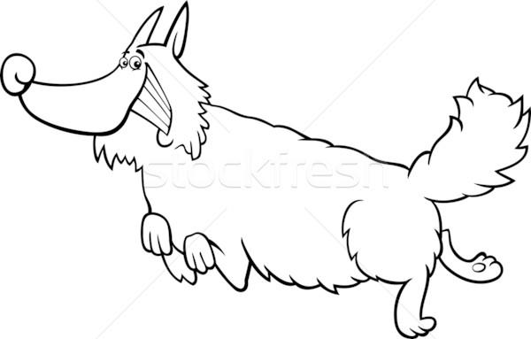 Rajz kócos kutya kifestőkönyv feketefehér illusztráció Stock fotó © izakowski
