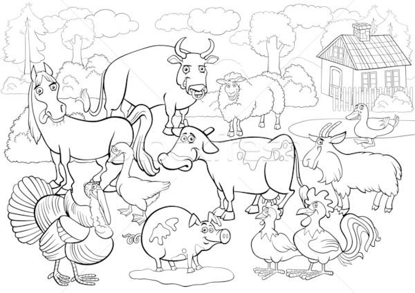 farm animals cartoon for coloring book Stock photo © izakowski