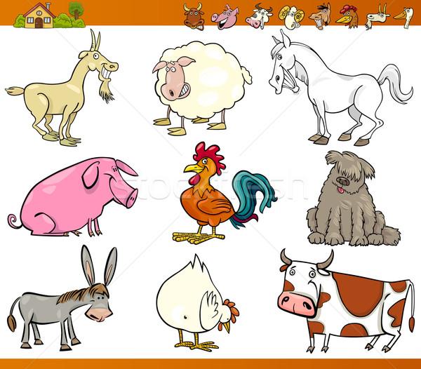 商业照片: 农场里的动物 ·集· 漫画 · 插图 · 滑稽 · 农场