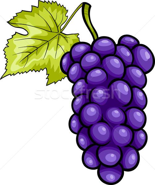 blue grapes fruit cartoon illustration Stock photo © izakowski