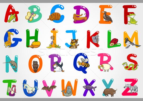 Karikatür alfabe hayvanlar örnek renkli Stok fotoğraf © izakowski