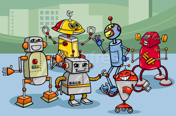 robots group cartoon illustration Stock photo © izakowski