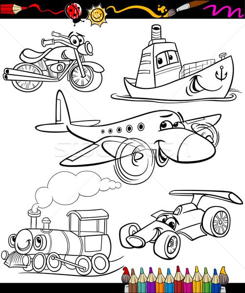 Vervoer ingesteld kleurboek pagina cartoon illustratie Stockfoto © izakowski
