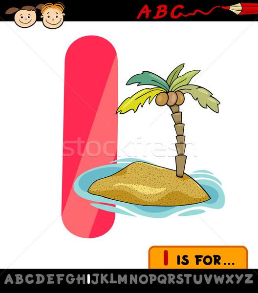 letter i with island cartoon illustration Stock photo © izakowski