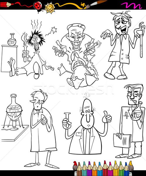 Bilim Adamları Ayarlamak Karikatür Boyama Kitabı Sayfa