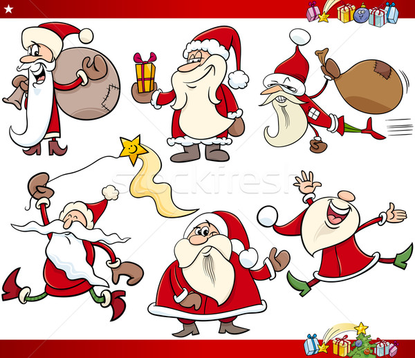 Christmas cartoon ingesteld illustratie kerstman Stockfoto © izakowski