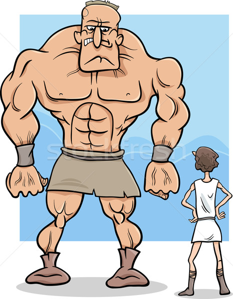 david and goliath cartoon illustration Stock photo © izakowski